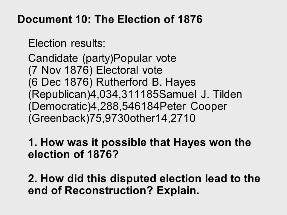 "should reconstruction have ended in 1876 Reconstruction is judged to have ""ended"" in of a political deal made after the presidential election of 1876 video should be smaller than b."