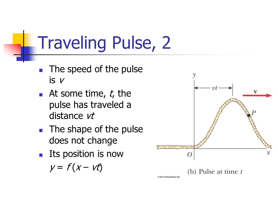 Traveling Pulse, 2 The speed of the pulse is v