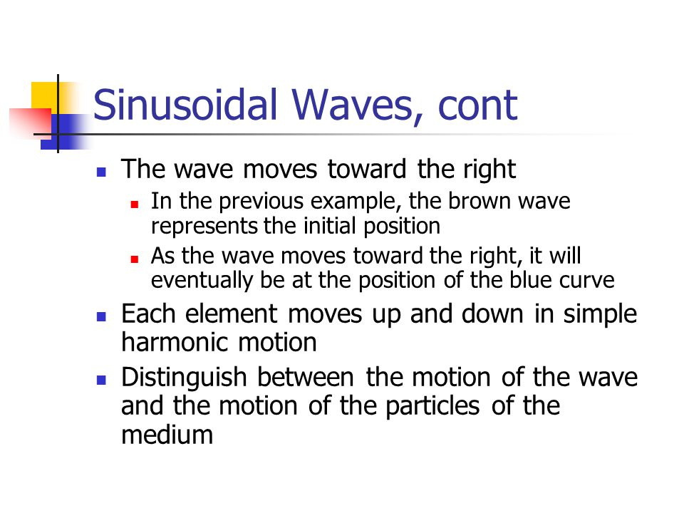 Sinusoidal Waves, cont The wave moves toward the right