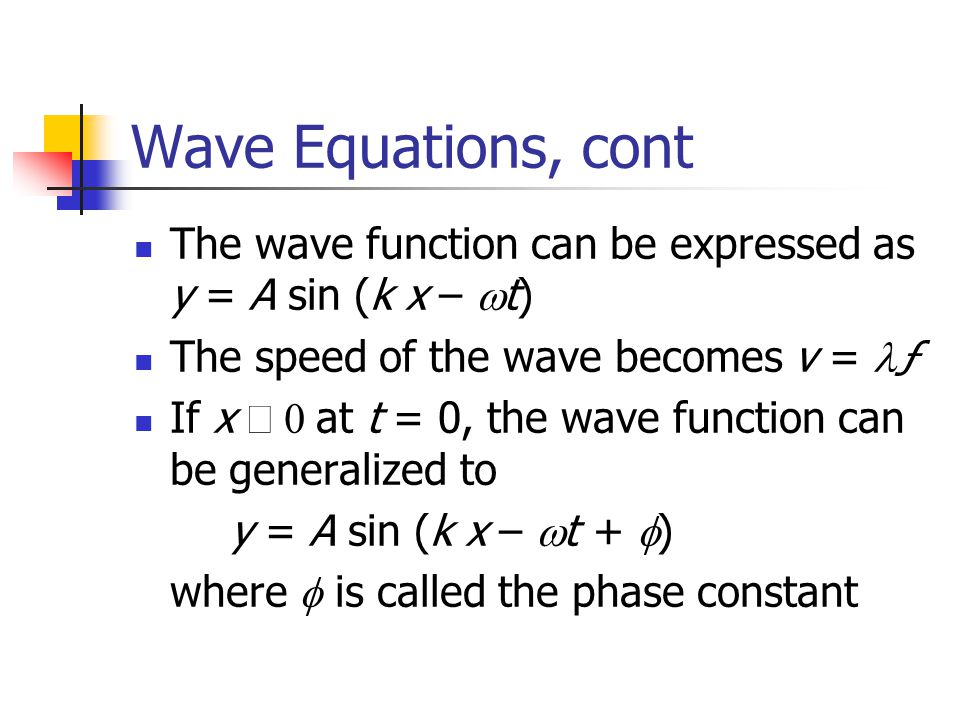 Wave Equations, cont The wave function can be expressed as y = A sin (k x – wt) The speed of the wave becomes v = lƒ.