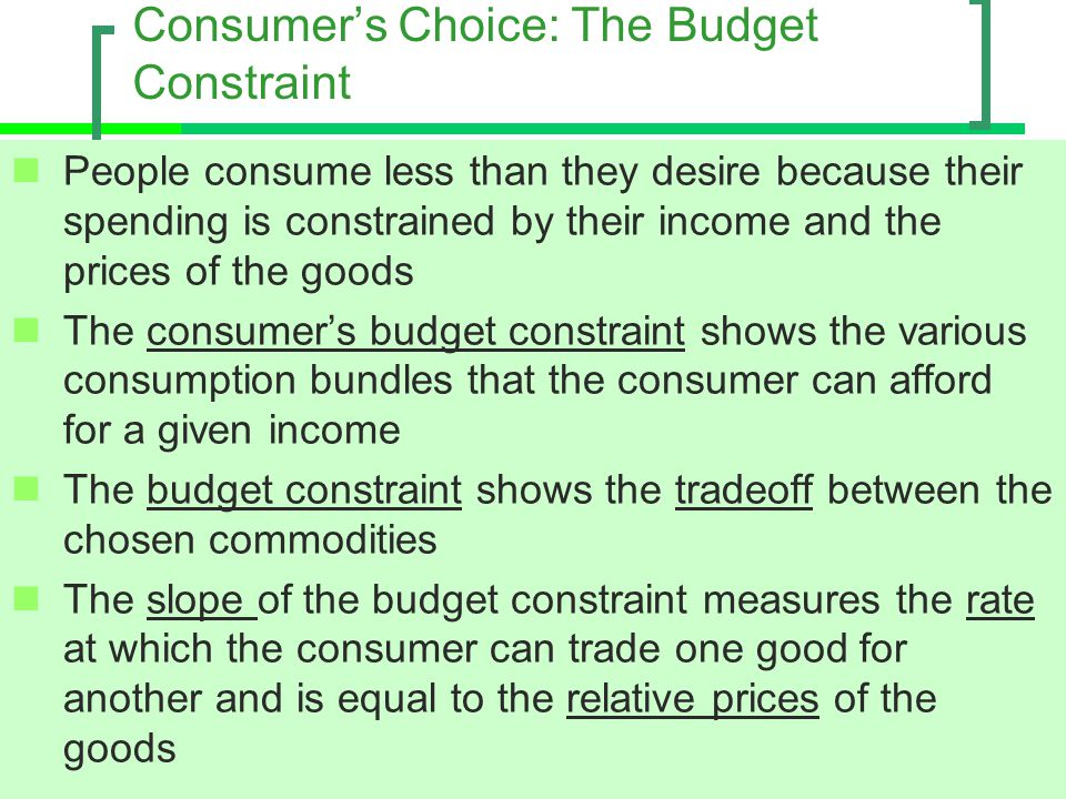 Consumer's Choice: The Budget Constraint
