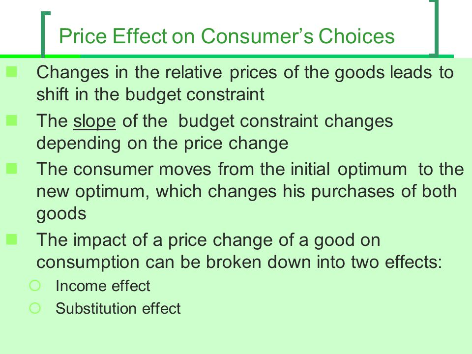 Price Effect on Consumer's Choices