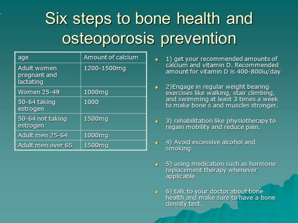 Six steps to bone health and osteoporosis prevention
