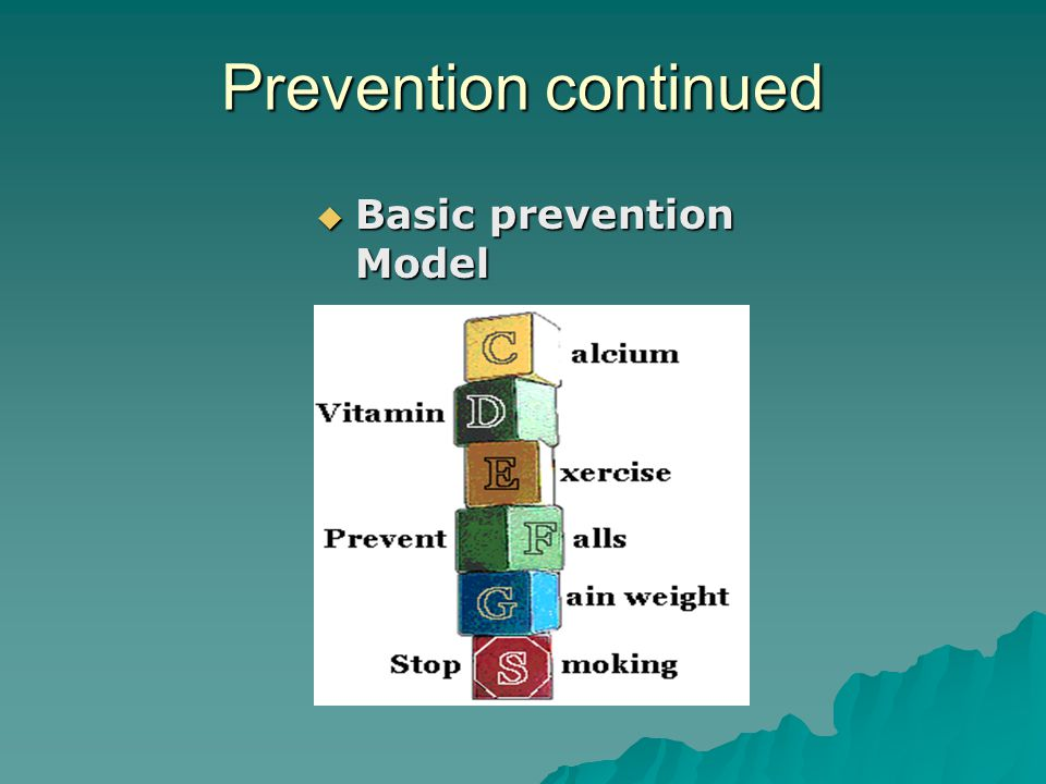 Prevention continued Basic prevention Model