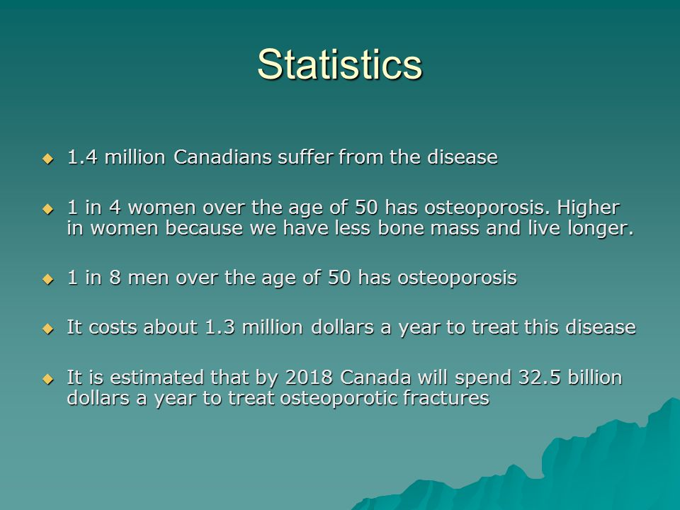 Statistics 1.4 million Canadians suffer from the disease