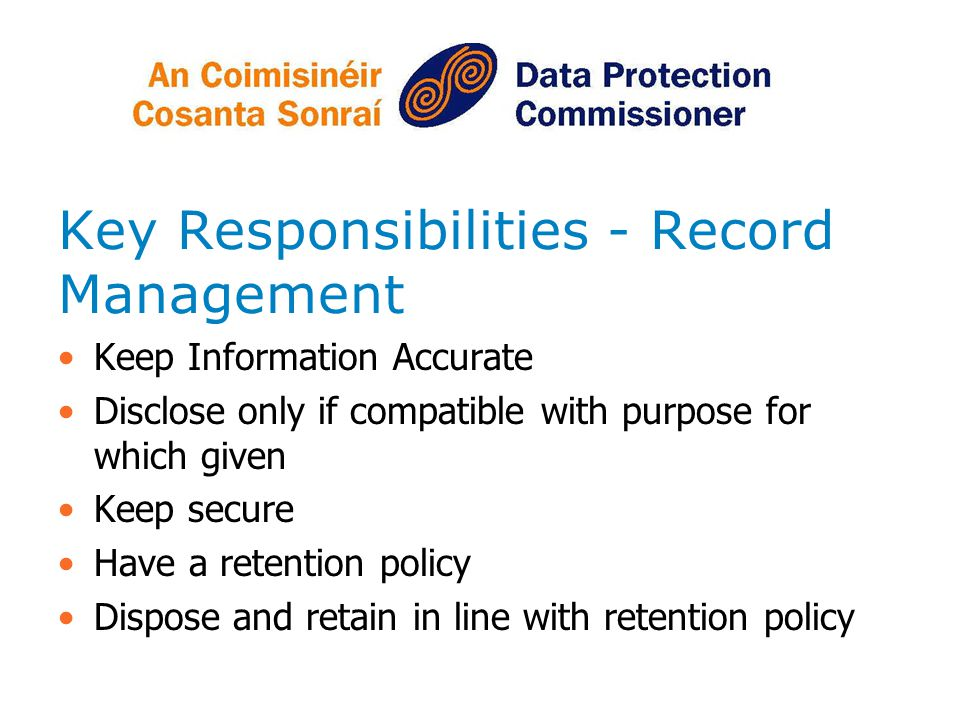 Key Responsibilities - Record Management