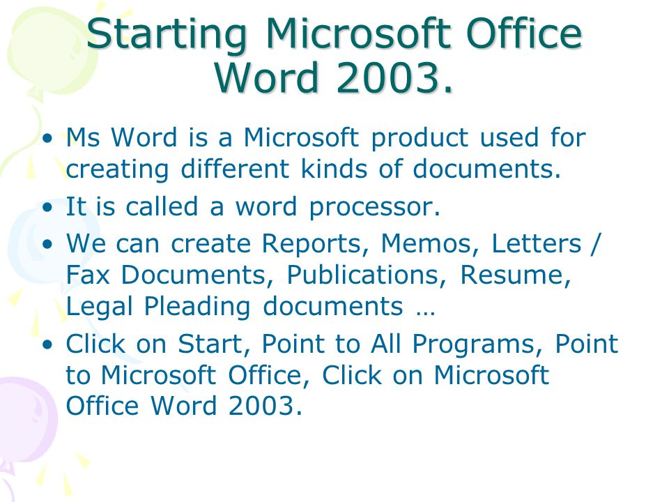 Starting Microsoft Office Word 2003.