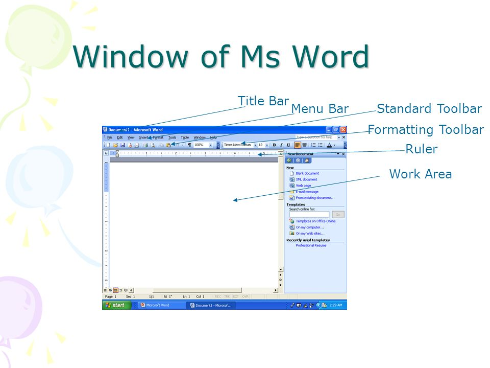Window of Ms Word Title Bar Menu Bar Standard Toolbar