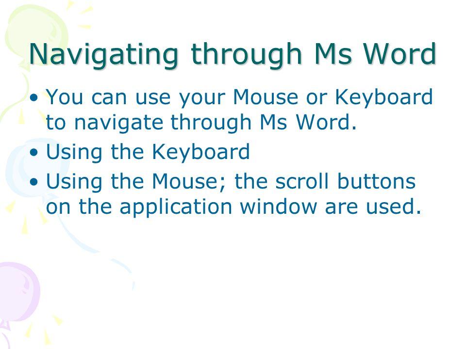 Navigating through Ms Word