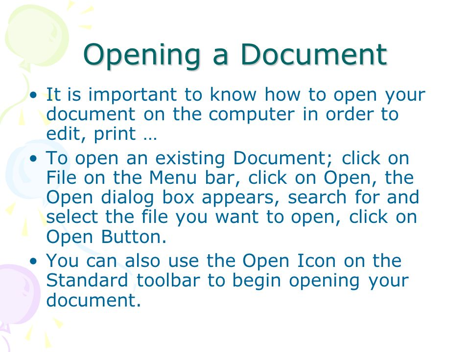 Opening a Document It is important to know how to open your document on the computer in order to edit, print …
