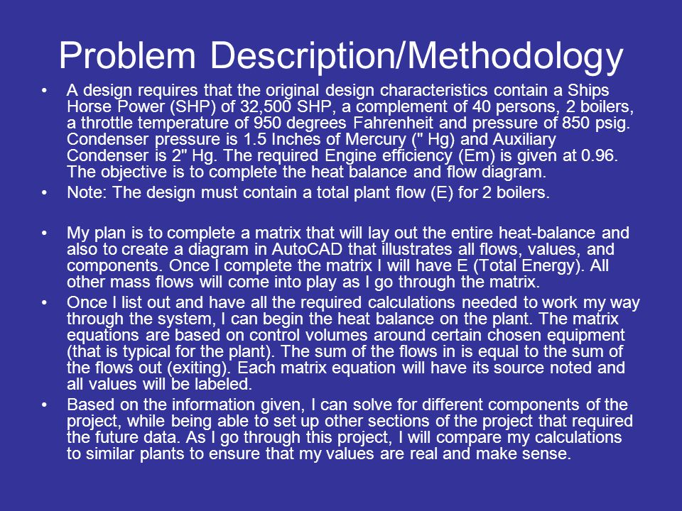 Problem Description/Methodology