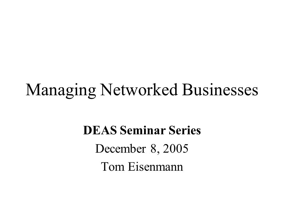 Managing Networked Businesses