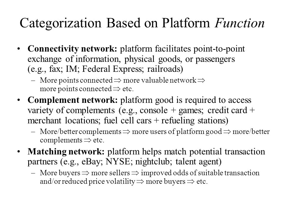 Categorization Based on Platform Function