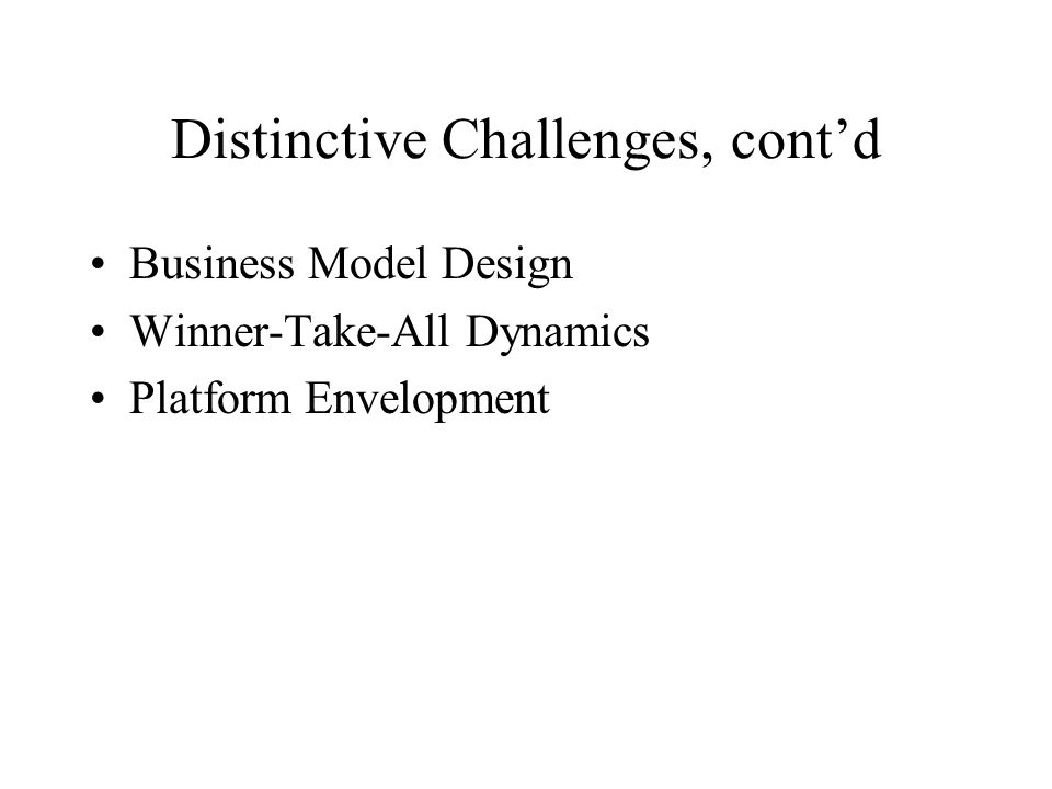 Distinctive Challenges, cont'd