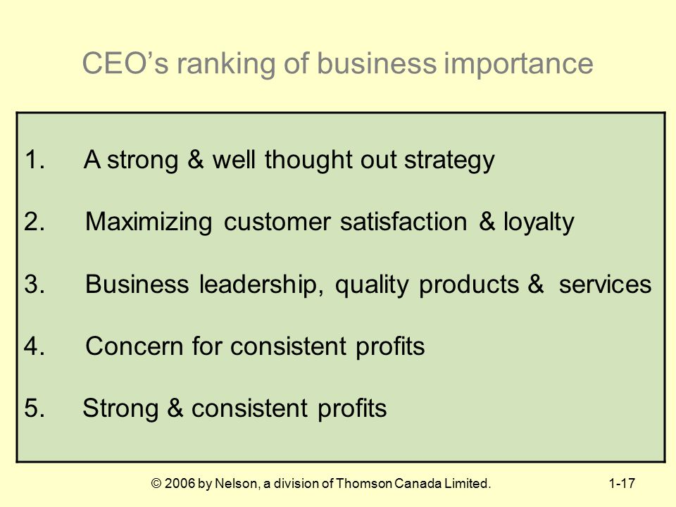 CEO's ranking of business importance