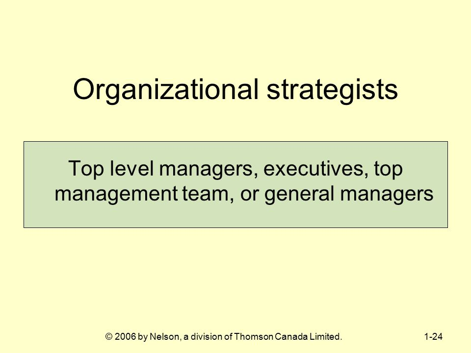 Organizational strategists