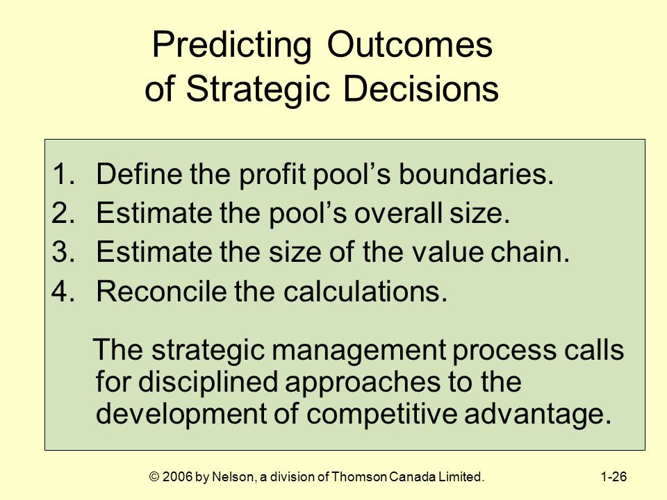 Predicting Outcomes of Strategic Decisions