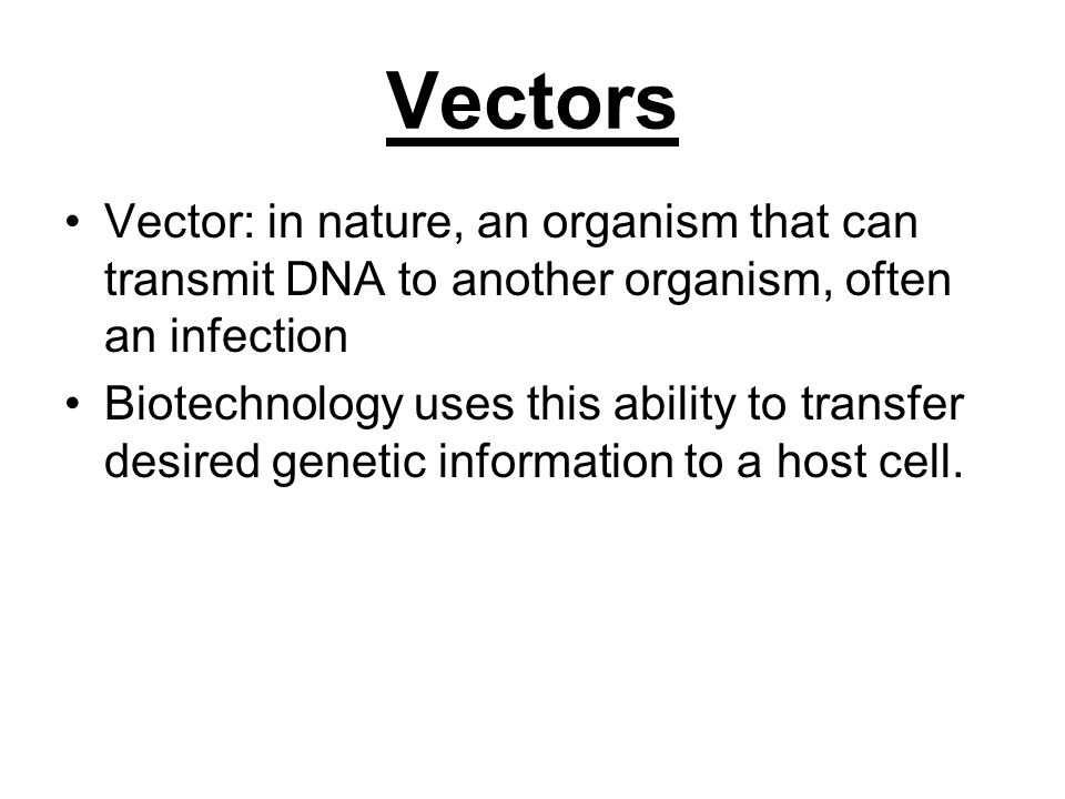 Vectors Vector: in nature, an organism that can transmit DNA to another organism, often an infection.