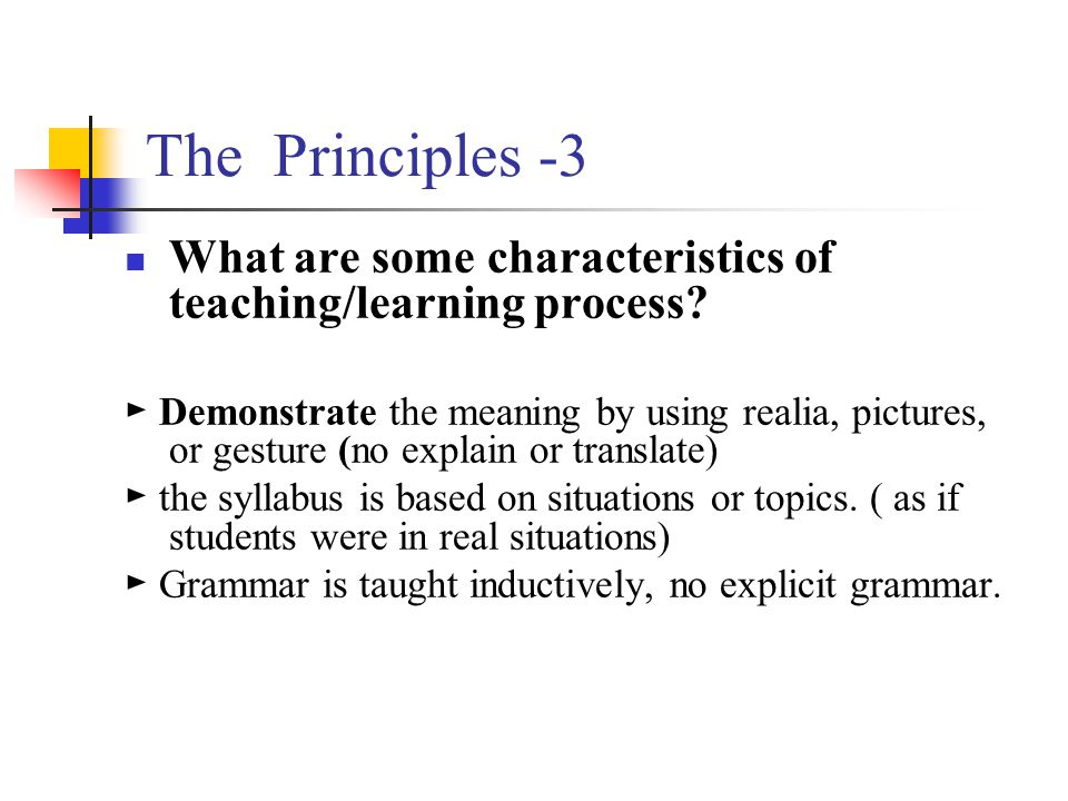 The Principles -3 What are some characteristics of teaching/learning process