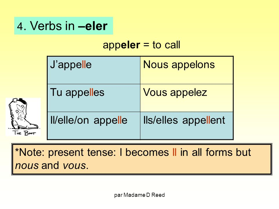 *Note: present tense: l becomes ll in all forms but nous and vous.