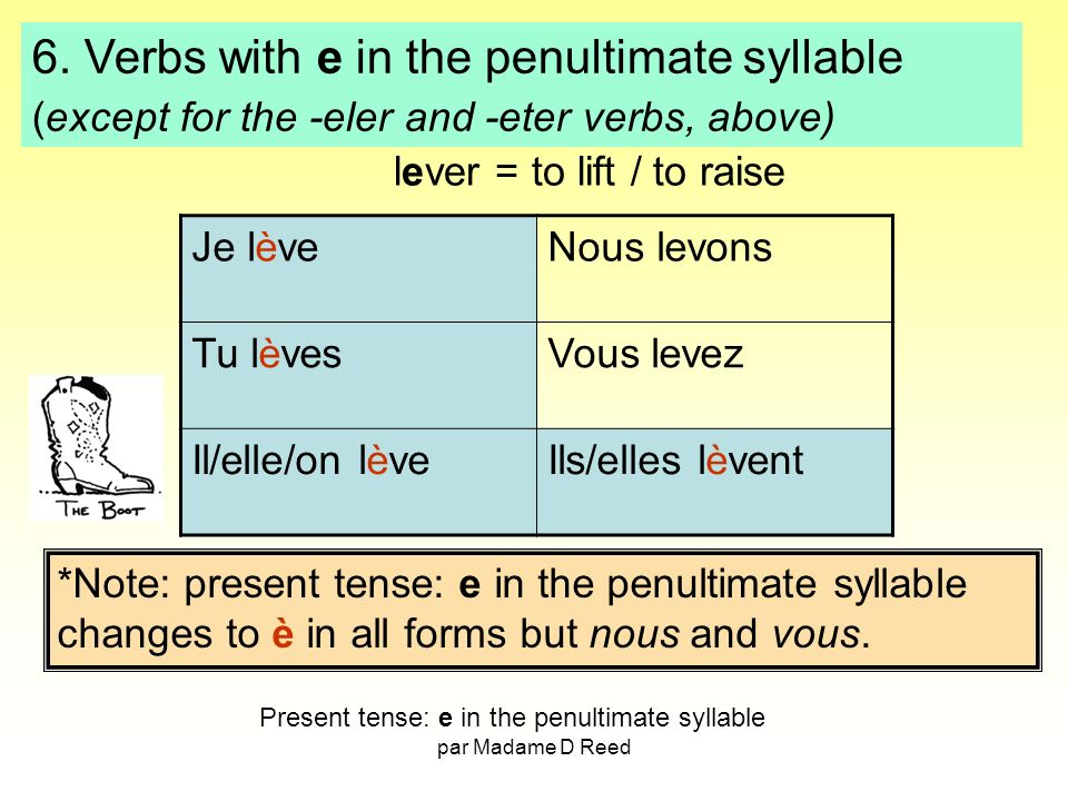 6. Verbs with e in the penultimate syllable