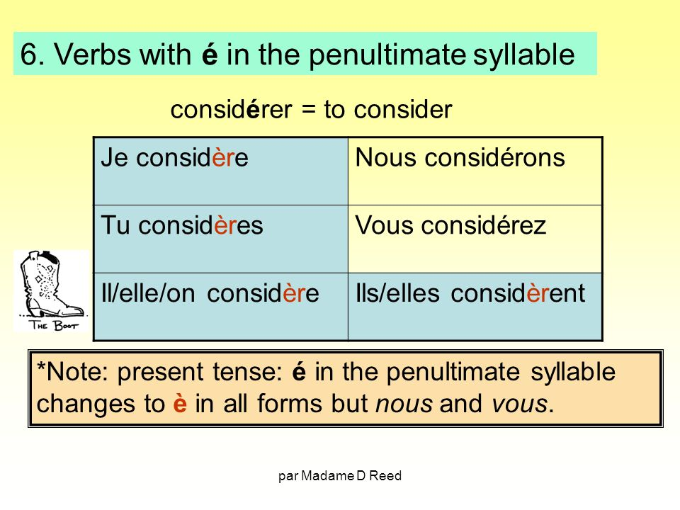 6. Verbs with é in the penultimate syllable
