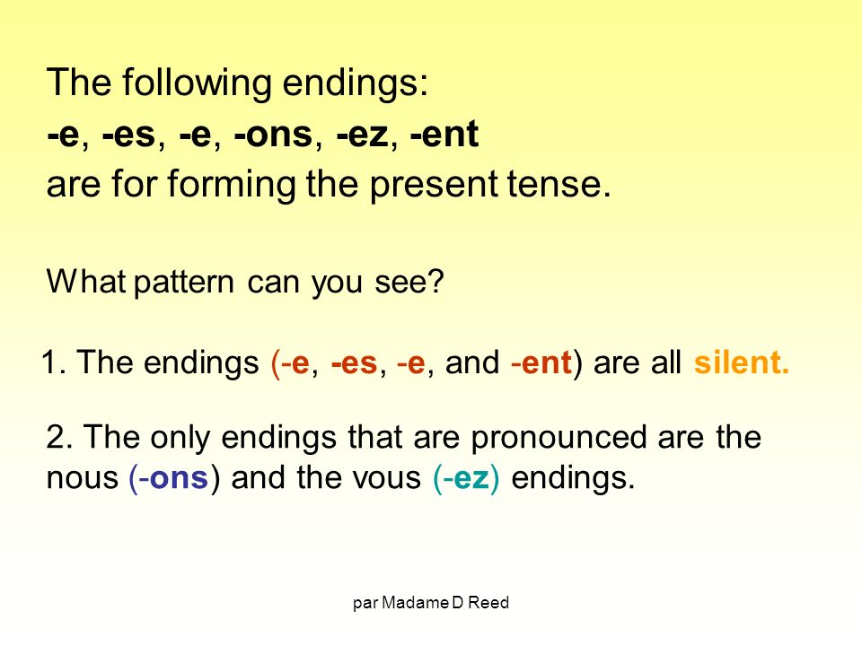 The following endings: -e, -es, -e, -ons, -ez, -ent