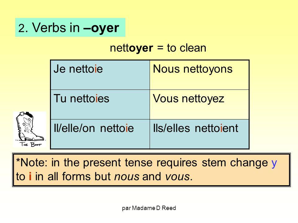 2. Verbs in –oyer nettoyer = to clean Je nettoie Nous nettoyons