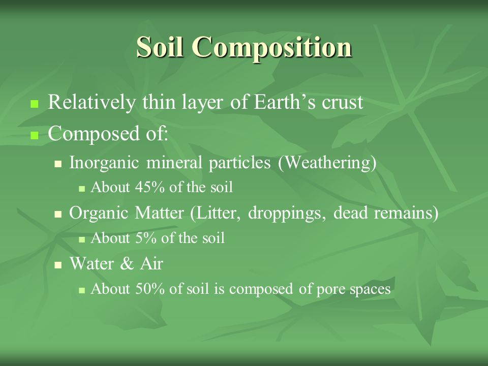Plants a botanical adventure ppt video online download for Earth soil composition