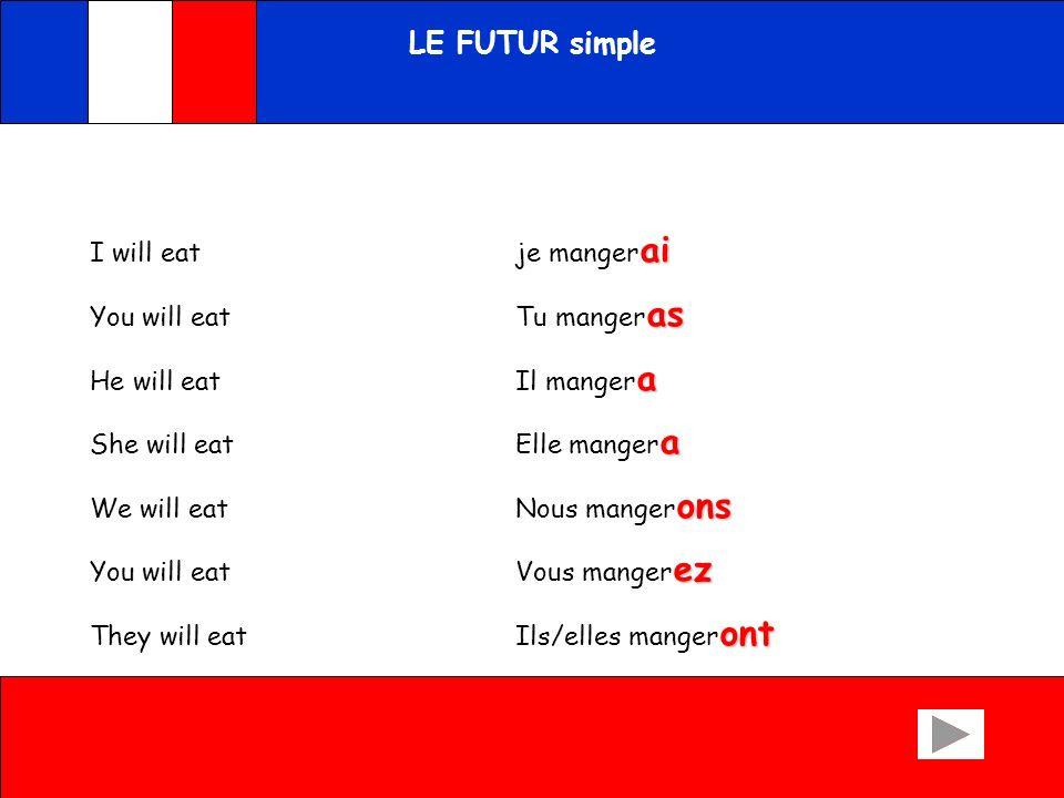 LE FUTUR simple I will eat je mangerai You will eat Tu mangeras