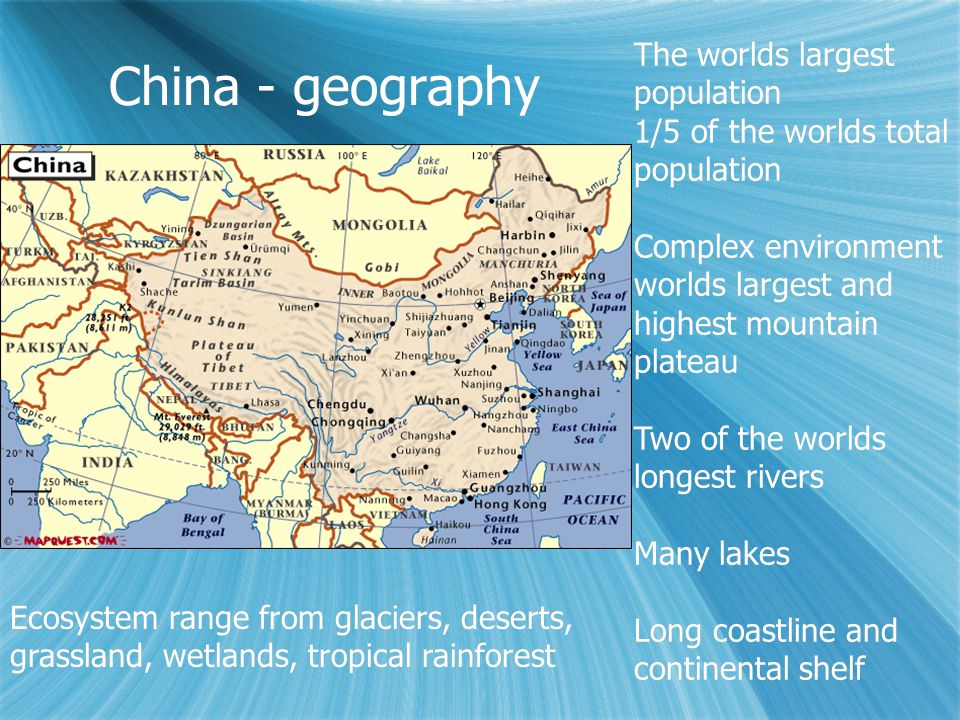 The geography population and economics of china