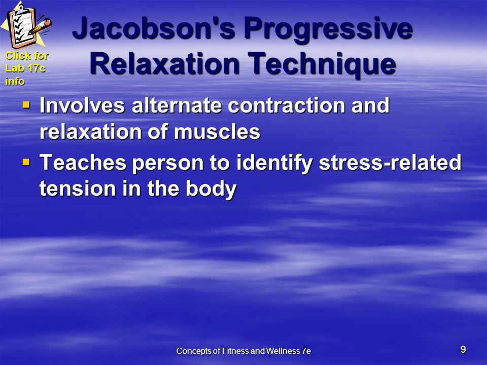 how to use progressive relaxation therapy Set ambient music and read relaxation scripts,  their ability to use music for relaxation progressive muscle  can be adapted for use with music therapy:.