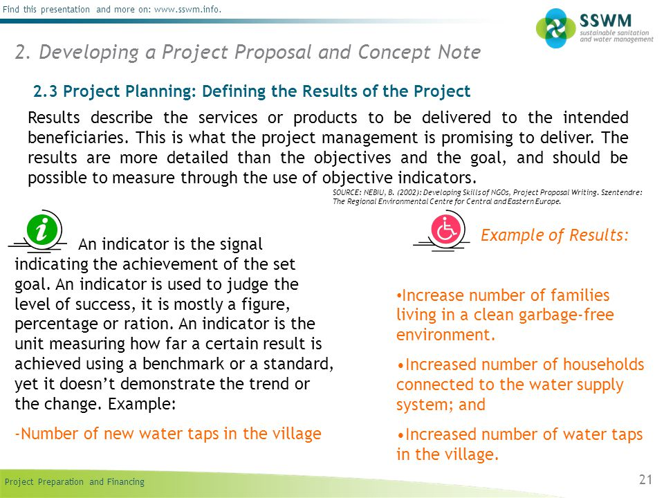Developing A Project Proposal And Concept Note  Example Of Project Proposal Used