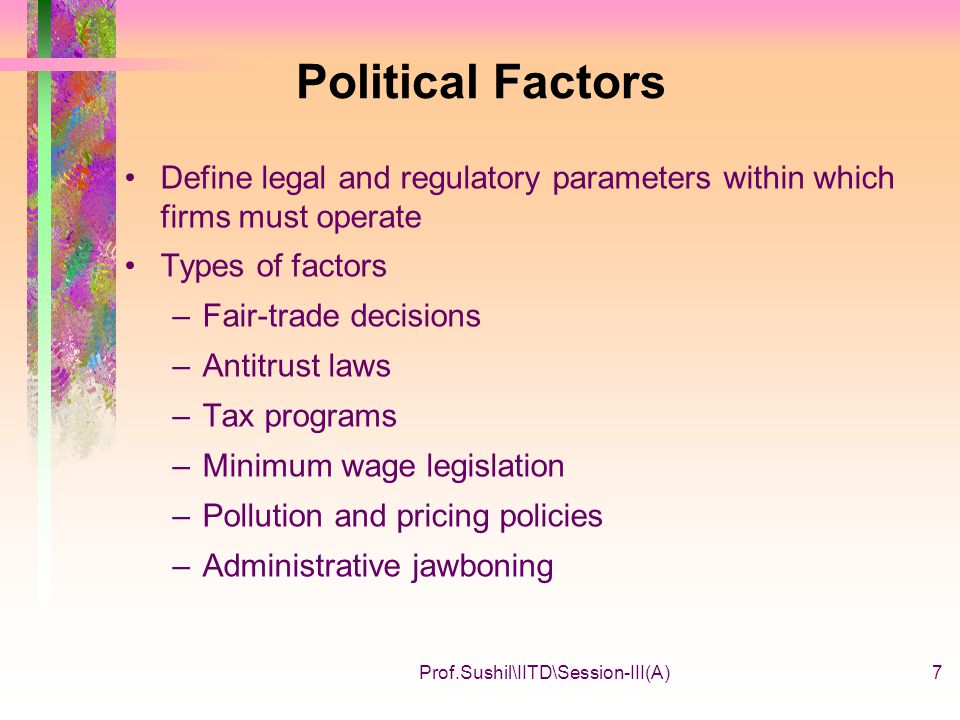 political cultural economic and legal administrative factors Forecast political, economic, and social trends submit research results by giving presentations and publishing articles political scientists usually conduct research in one of the following areas: national politics, comparative politics, international relations, or political theory.