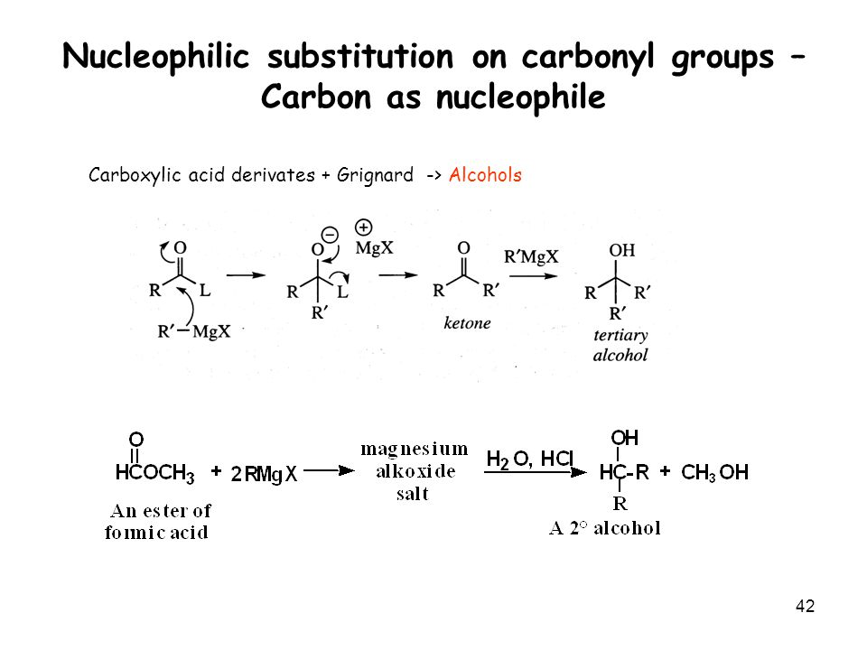 nucleophilic substitution at the carbonyl carbon Carbonyl fundamentals (all information and examples borrowed from chem 14d thinkbook for fall  o nucleophilic carbonyl substitution: lg is present occurs with ester, amide, anhydride, and acid chloride functional groups  resistant the carbonyl carbon is to nucleophilic attack if the δ+ is reduced, the.