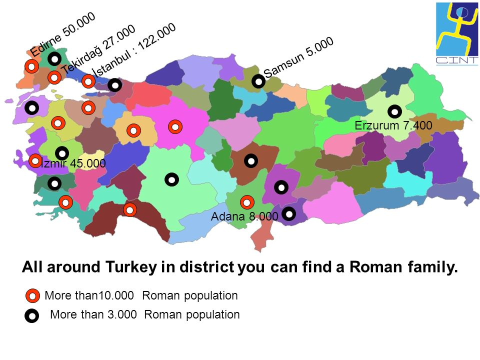 All around Turkey in district you can find a Roman family.
