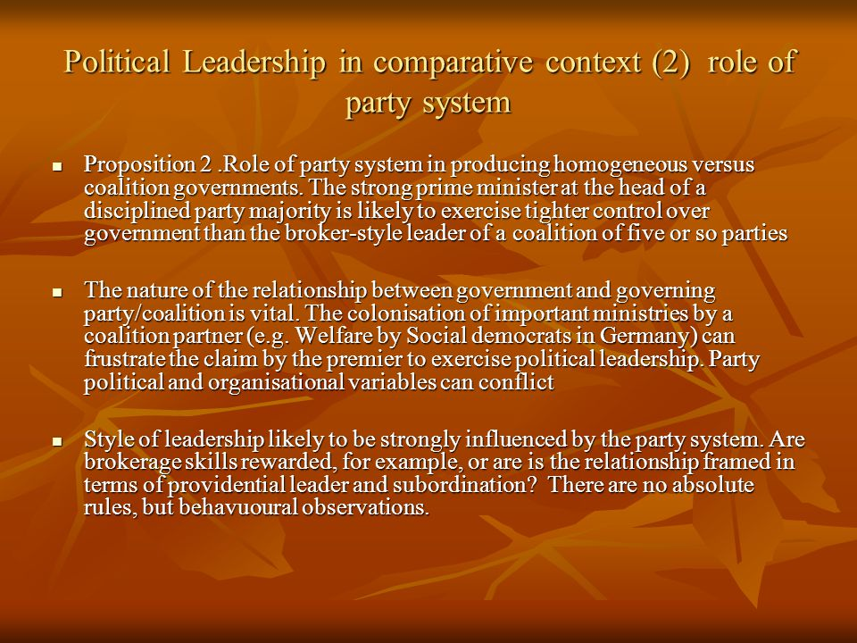the role of political leadership in Six roles of a leader during change successful organizational change depends on leaders – managers and bosses who have direct authority with people going through the change – to support and execute change in their span of influence.