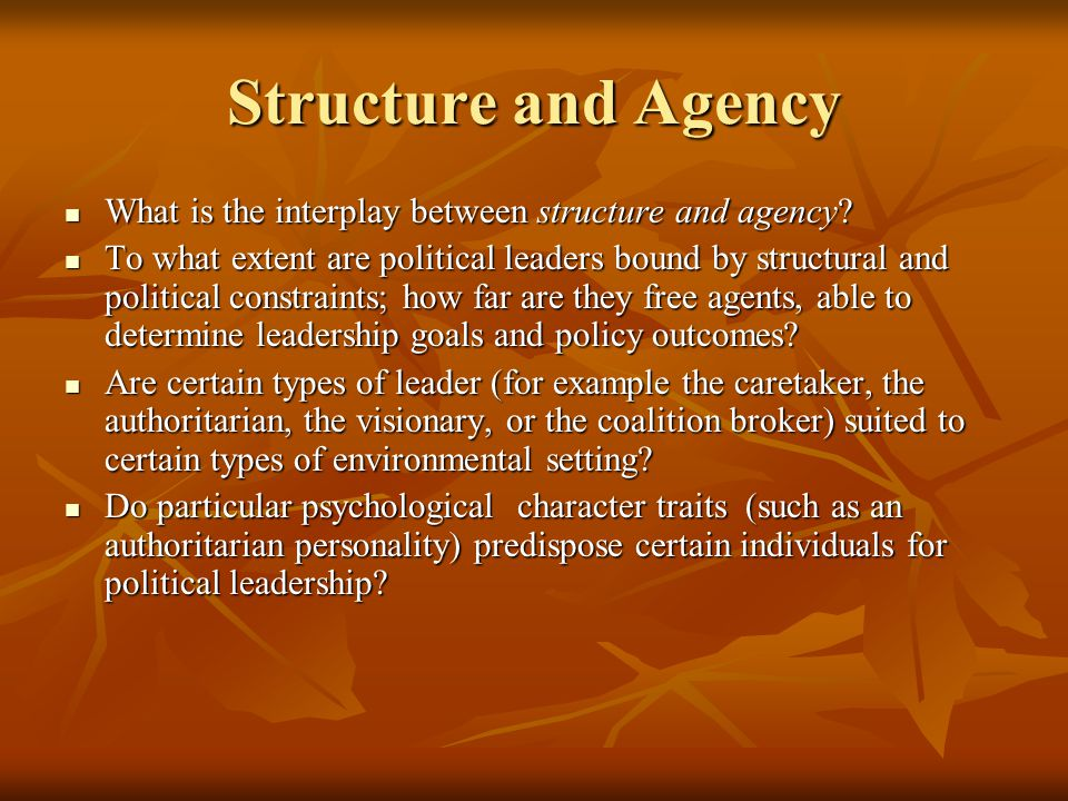 """the interactions between structure and agency More specifically, they have presented theoretical frameworks that acknowledge  the dialectical relationship between """"structure"""" and """"agency""""."""