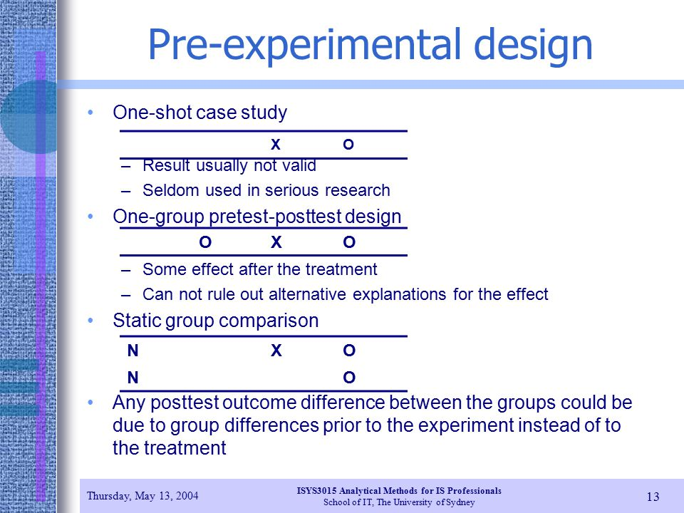 pre experimental design one shot case study Research designs: quasi-experimental, case studies & correlational research   a true experiment has one main component - randomly assigned groups.