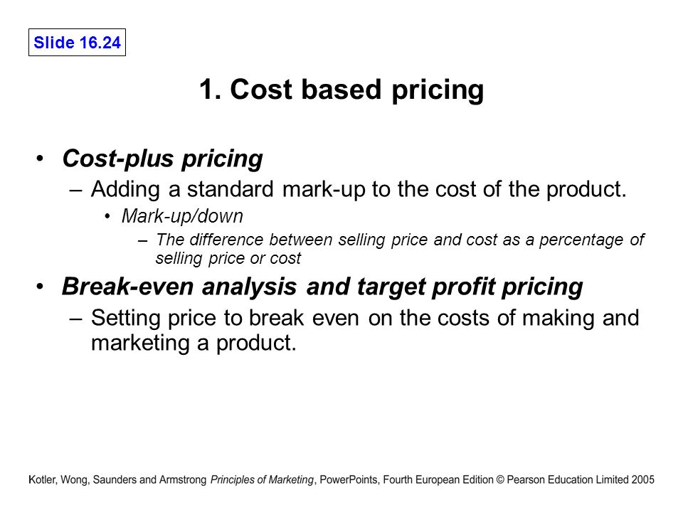 Target costing and cost plus pricing