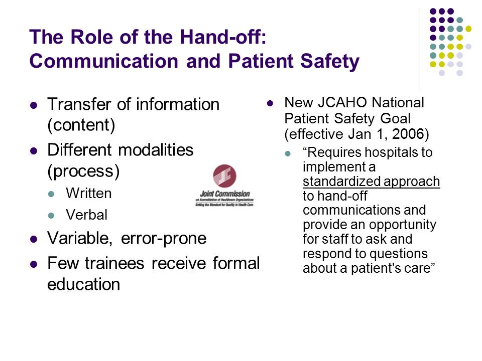 improving communication for patient safety Building a foundation of good teamwork and communication can help transform individual patient safety projects into an overall system of safety effective groups.