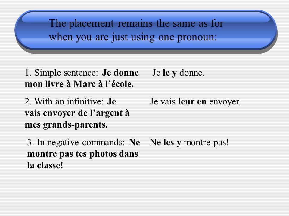 The placement remains the same as for when you are just using one pronoun: