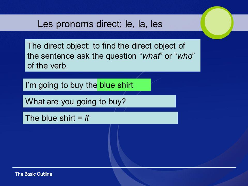 Les pronoms direct: le, la, les