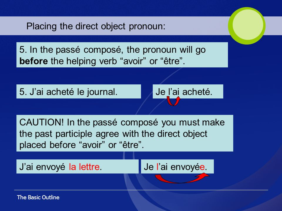 Placing the direct object pronoun: