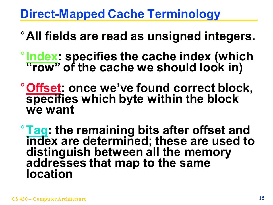 Direct-Mapped Cache Terminology