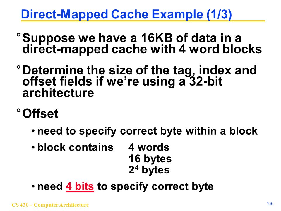 Direct-Mapped Cache Example (1/3)