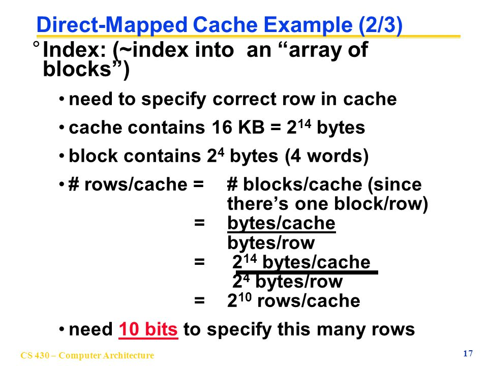 Direct-Mapped Cache Example (2/3)