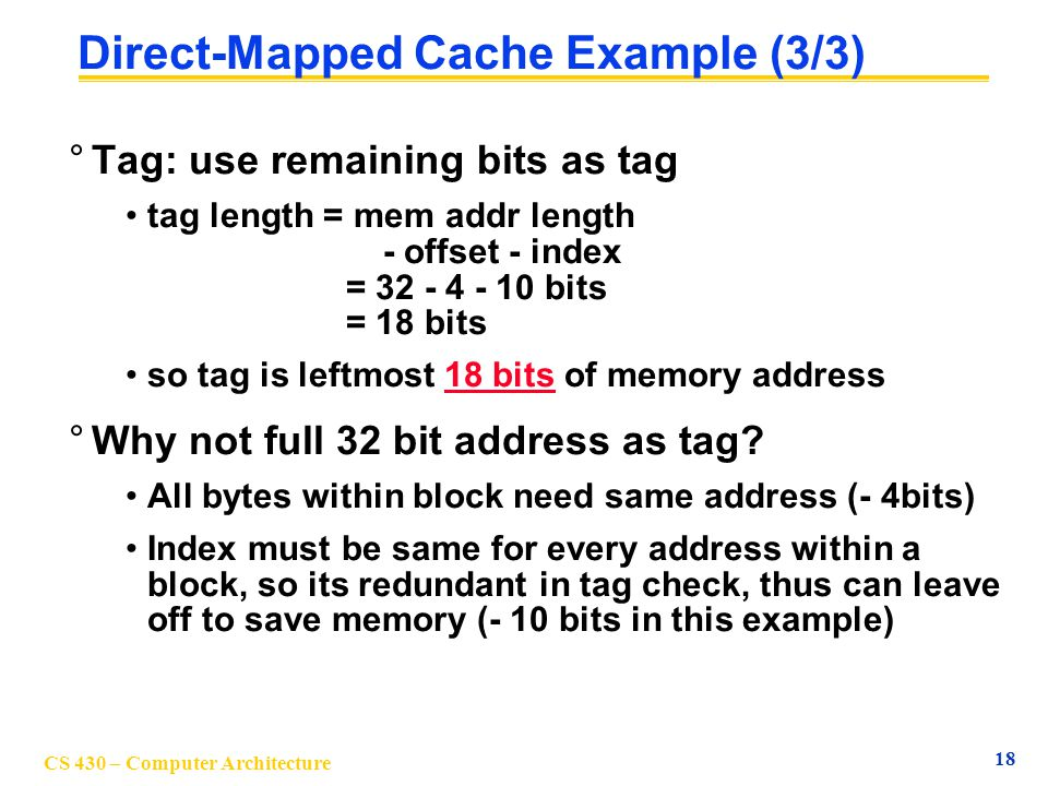 Direct-Mapped Cache Example (3/3)