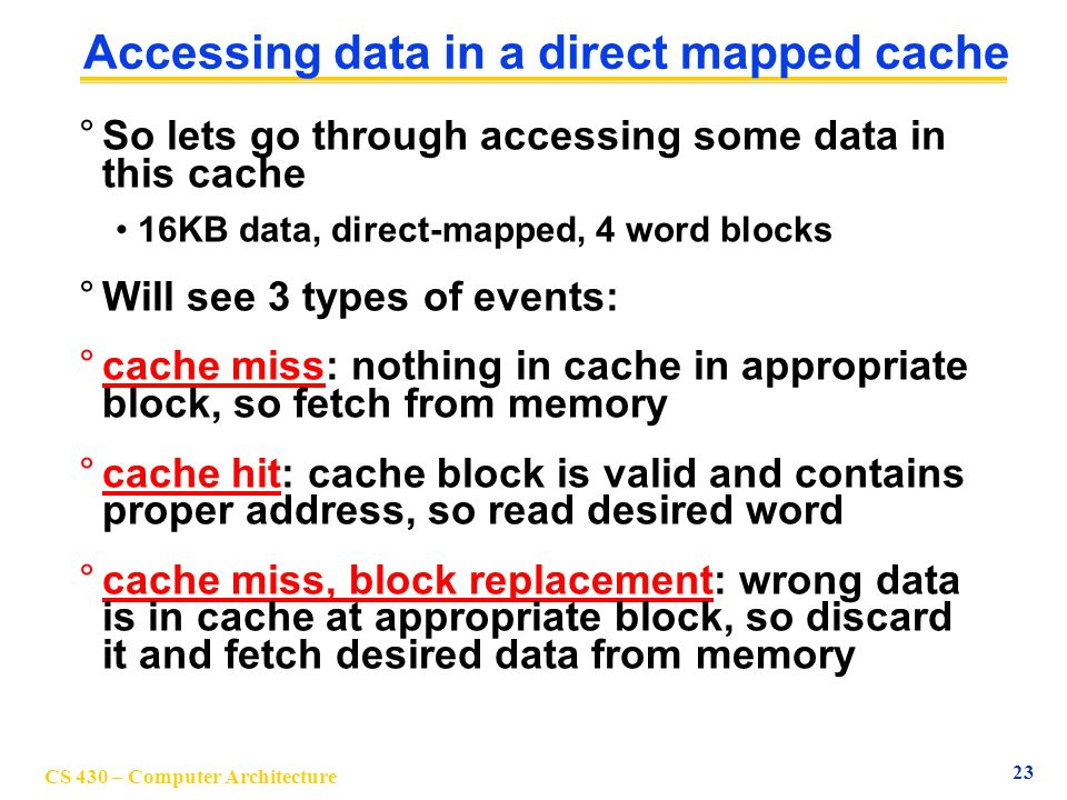 Accessing data in a direct mapped cache