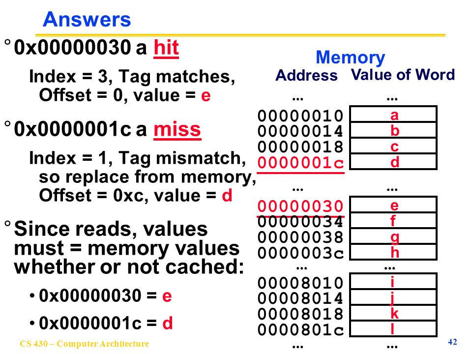 Since reads, values must = memory values whether or not cached: